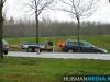 Auto met aanhanger van de weg op N366 bij Musselkanaal